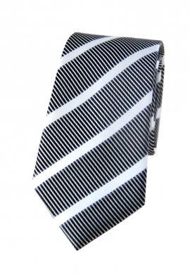 Logan Black & White Striped Tie