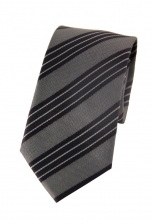 Aaron Black & Grey Striped Tie