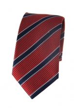 Logan Red & Navy Striped Tie