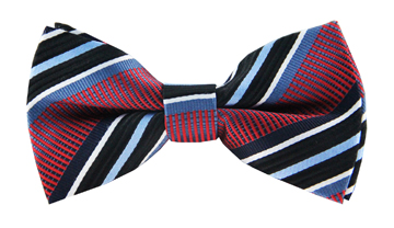 Alvin Red Striped Bow Tie
