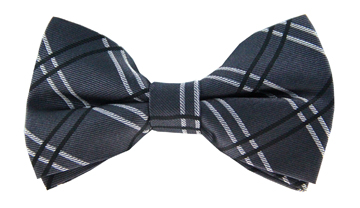 Boston Grey Checkered Bow Tie
